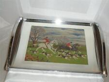 CHROME MIRROR TRAY DEPICTING A HUNTING SCENE