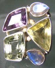 Plata 925 12gr Corte amethyst/quartz anillo Cocktail de Reino Unido L ¼ / nos 6,25