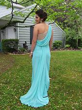 Goddess PROM GOWN Size 10 Aqua Blue Green One Shoulder Formal Dress Jewels
