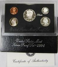 1994 Us Mint Silver Proof Set 5 Gem Coins Total in Ogp W/ Box and Coa