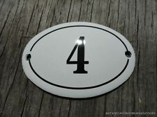 SMALL ANTIQUE STYLE ENAMEL DOOR NUMBER 4 SIGN PLAQUE HOUSE NUMBER FURNITURE SIGN