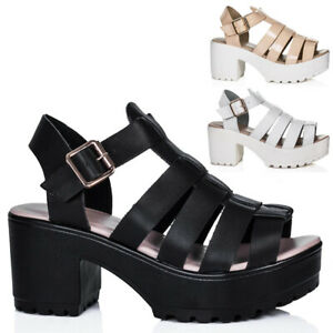 NEW LADIES HEELED CLEATED SOLE PLATFORM LEATHER STYLE SANDALS
