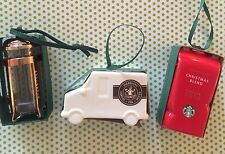 Set 3 Starbucks 2016 Ornaments Delivery Truck Coffee Press Red Coffee Bag NEW