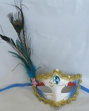 Gold Red & Blue Masquerade Mask With Peacock Feathers - Blue Centre, Pink Flower
