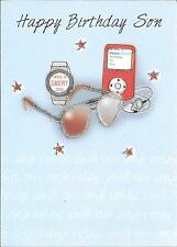 BIRTHDAY CARD FOR SON - RELAX, CHILL, SUNGLASSES, WATCH, MP3