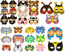 1 6 12 24 48 EVA FOAM MASKS Childrens Fancy Dress Farm Jungle Pirate Dinosaur