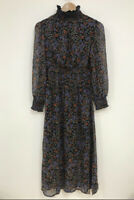 Violet Romance Dress Size 8 & 12 Black Midi Floral Print with Shirring New GU29