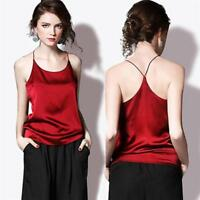 Women Summer Spaghetti Strap Silk Vest Tank Crop Top Cami Shirt Tops W