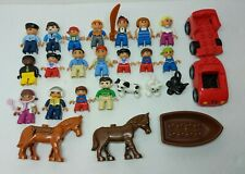 Lego Duplo Mini Figures, Animals, And Vehicles Lot of 27
