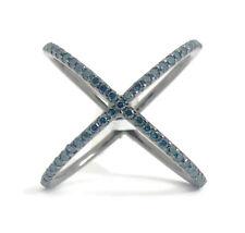 Blue Diamond X Crisscross Statement Ring in Black 14K White Gold,  3.23 Grams