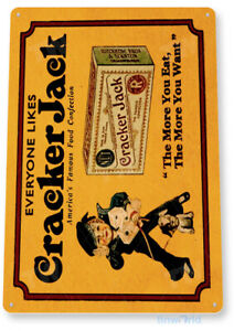 Cracker Jack Sign, Retro Rustic Candy Popcorn, Caramel Tin Sign B661
