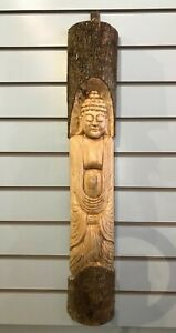 Thai Buddha Man Of The Woods 80cm Hand Carved Wizard Tree Trunk Wood Fairtrade