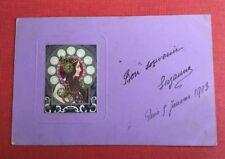 CPA. 1903. Dans l'esprit de Mucha. Profil de Femme. Art Nouveau. Fond Violet.