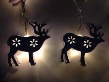 Reno De Metal Blanco 4ft Luces LED Decoración de Navidad de temporizador con batería
