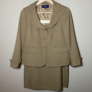 Jones Wear Petite Tan Skirt Suit Jacket Size 8P Skirt Size 10P Lined Polyester