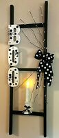 BRAND NEW RUSTIC PRIMITIVE LIGHTED BOO HALLOWEEN HANGING LADDER WALL DECOR