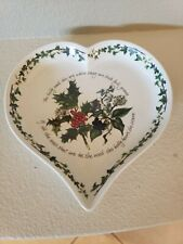 Portmeirion Heart Shaped Dish The Holly & The Ivy  Approximate 9.25 x 9 Britain