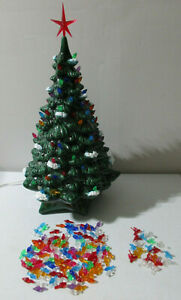 """Vintage Large 19"""" Lighted Ceramic Mold Christmas Snow Tipped Tree with Base Bird"""