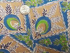 Best Vintage Feedsack Quilt Fabric 40s Lime on Blue Floral Stripe Flour Sack