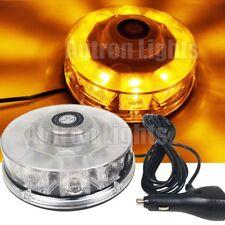 10 LED Rotating Round Roof Flashing Light Bar Mini Emergency Beacon Strobe Amber