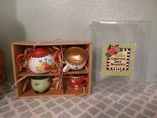 Mary Engelbreit Christmas Spice Teacup Ornaments Shabby Chic set 4