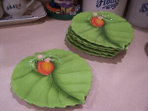 6 salad plates Temptations Tara Figural fruit  peach
