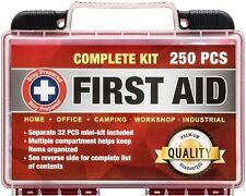 Stay Prepared 250-Piece First Aid Kit: 2-in-1 for Home, Office, Camping, Car, Sc