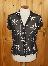 3MAX  black ivory floral sheer daisy chiffon shortsleeve blouse shirt top 12 40