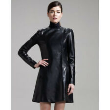 Womens The Row Black Leather Asymetrical Zip Front Coat Jacket Size 10