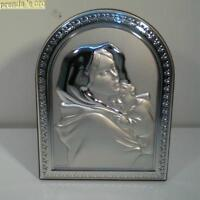 Painting Sacred Madonna Child Bas-Relief Silver Handcrafted Valenti 150113