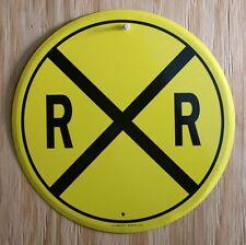 Tin Metal Sign Railroad Crossing Yellow Black Train Sign Caution