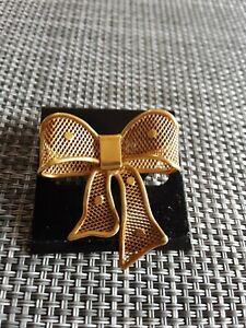 VINTAGE ITALY 18k YELLOW GOLD BOW RIBBON PIN BROOCH 4.8 GRAMS