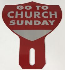 Go To Church Sunday License Plate Topper Red Vintage Style Stamped Aluminum