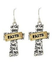 Faith Cross Christian Bible Scripture Earrings Inspiration Jewelry Gift