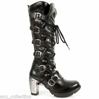 NEWROCK New Rock TR004-S1 Ladies Black Leather Buckle Lace Knee High Zip Boots