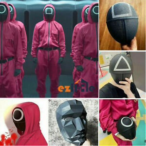 Squid Game New Six Face Mask Game 2021 Cosplay Round Mask Horror Party Halloween