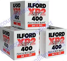 3 x ILFORD XP2 400 35mm 24exp C.41 PROCESS B&W FILM - by 1st CLASS POST