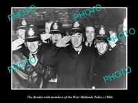OLD LARGE HISTORIC PHOTO OF THE BEATLES WITH THE WEST MIDLANDS POLICE c1960s