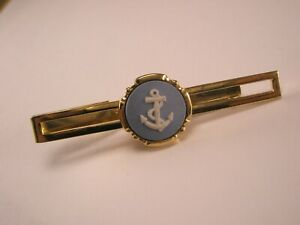 -Ships Anchor White on Blue Field Vintage STRATTON MADE IN ENGLAND Tie Bar Clip