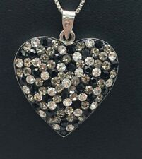 Sterling Silver 925 Enamel Black Onyx CZ Cluster Chunky Heart Love Necklace 18""