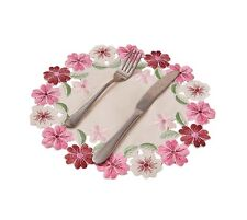 [Flowers Blooming] Set of 6 Creative Embroidery Round Placemats Cup Mat, 28cm