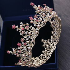 7cm High Pink Pearl Flower Crystal Gold Large Crown Wedding Prom Party Pageant