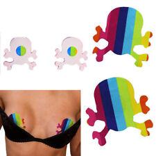 Skull Crossbone Nipple Cover Rainbow Breast Pastie Adhesive Costume Fantasy Fest