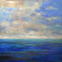 "Very large Painting Original Acrylic on Canvas Ocean Art. by Hunoz 48"" x 48"""