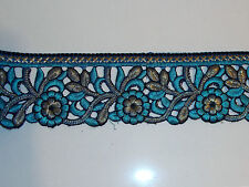 gold TURQUOISE asian embroidery trimming costume ribbon festival boho applique