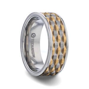 Wavy Gold & Gunmetal Texture Pattern Inlay Titanium Flat Men's Band - 8 mm