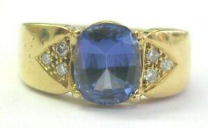 Cushion Tanzanite & Diamond Ring 18Kt Yellow Gold AAAA/VS 2.24Ct 10Ct SIZEABLE
