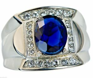 Blue sapphire simulated 6 carat mens ring 316 Stainless Steel size 8 T56