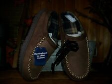 GEORGE MENS MEMORY FOAM COMFORT SLIPPERS SHOES SIZE 9-10 BROWN RUBBER SOLE NEW