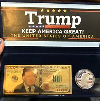 Donald Trump Keep America Great 24K Gold Plate $100 & Commemorative Coin Set